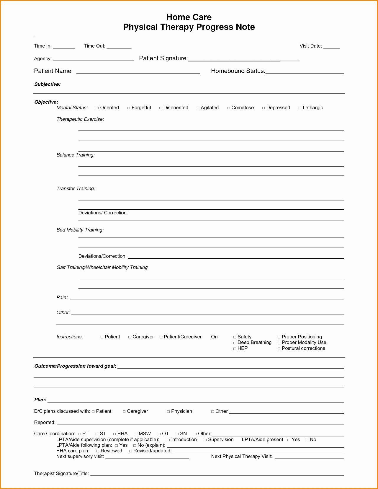 Blank Nursing Progress Notes Notes Template Nursing Notes