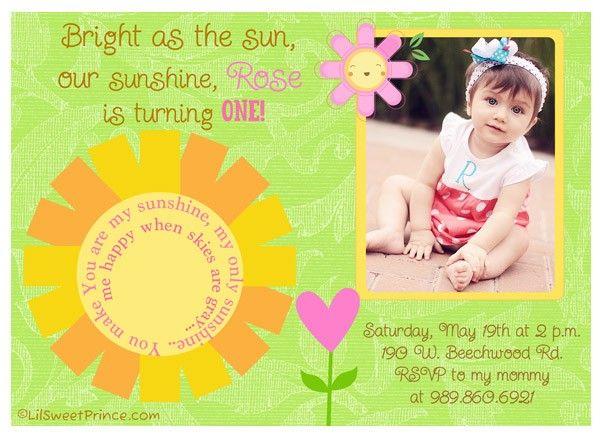 You Are My Sunshine Invitation Aubreys 1st Birthday Pinterest