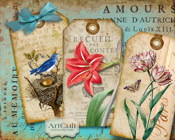 VINTAGE GARDEN - Digital Collage Sheet Printable Gift Tags Paper Craft Download Images Jewelry Holders