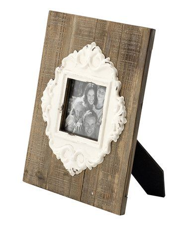 Love this Wood & White Accent Easel-Back Frame on #zulily ...