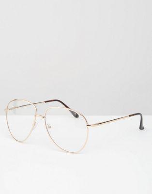 540a39541a Gafas con montura de metal tipo intelectual con lentes transparentes de ASOS