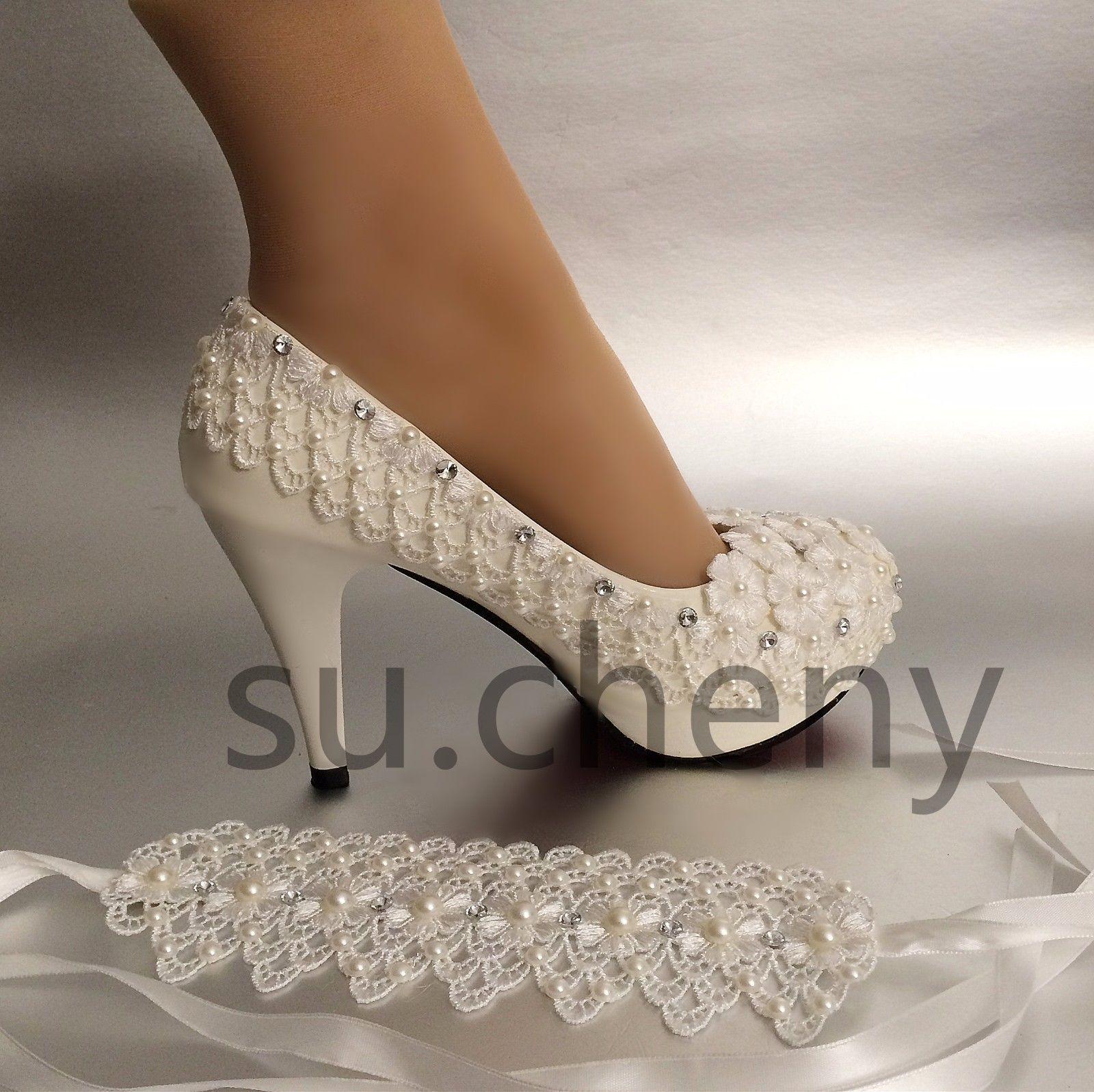 Su Cheny 3 4 Heel White Ivory Lace Ribbon Pearls Wedding Shoes Bride Size 5 11 Ebay Valentino Wedding Shoes Wedding Shoes Bride Wedding Shoes Pumps