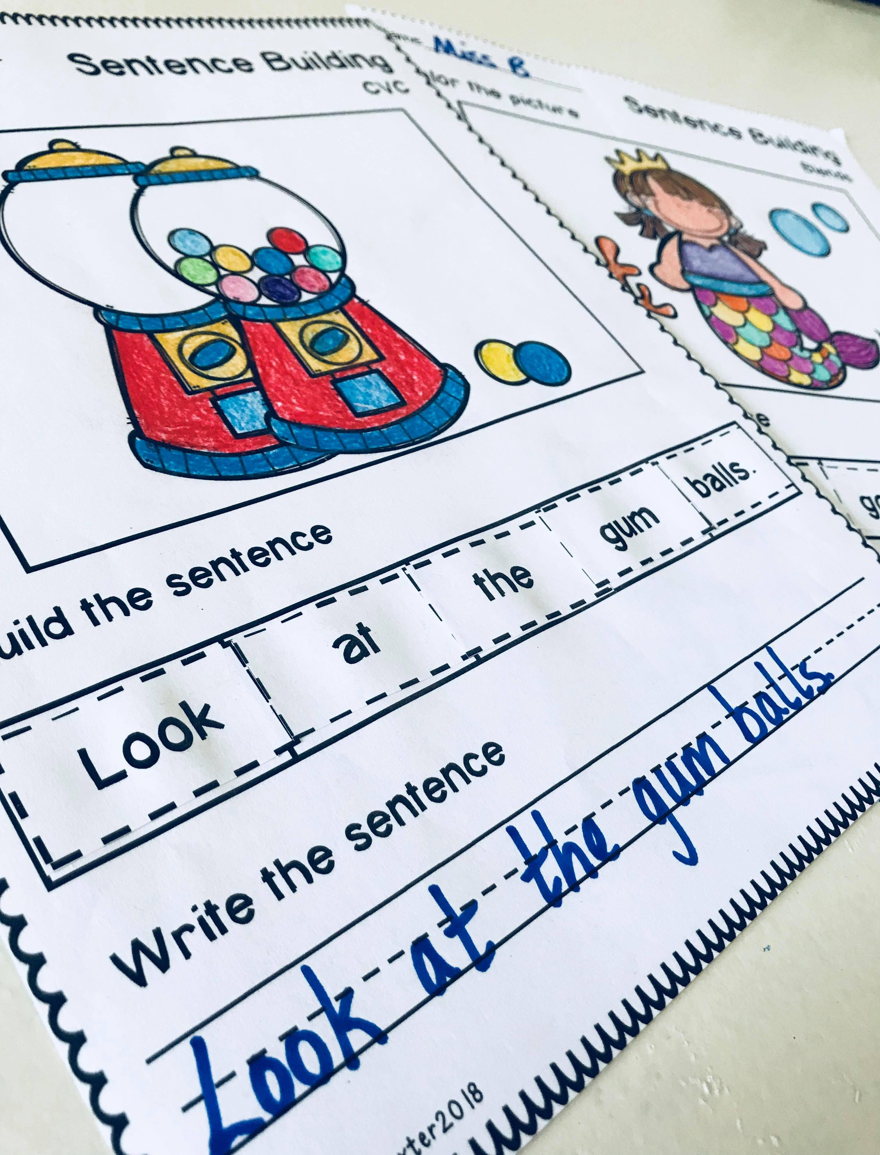 Sentence Building Worksheets Bundle Set 1 Amp 2
