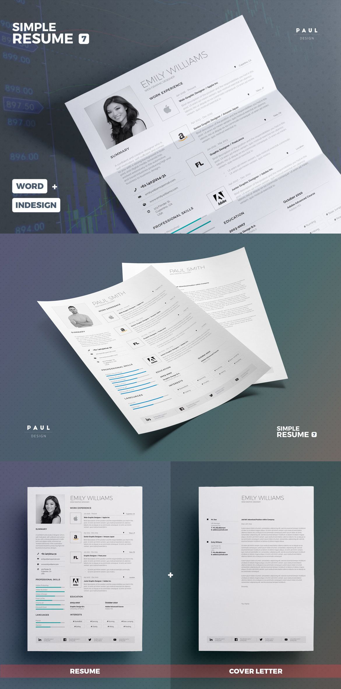 Professional and Creative Resume / Cv Design | Word + Indesign ...