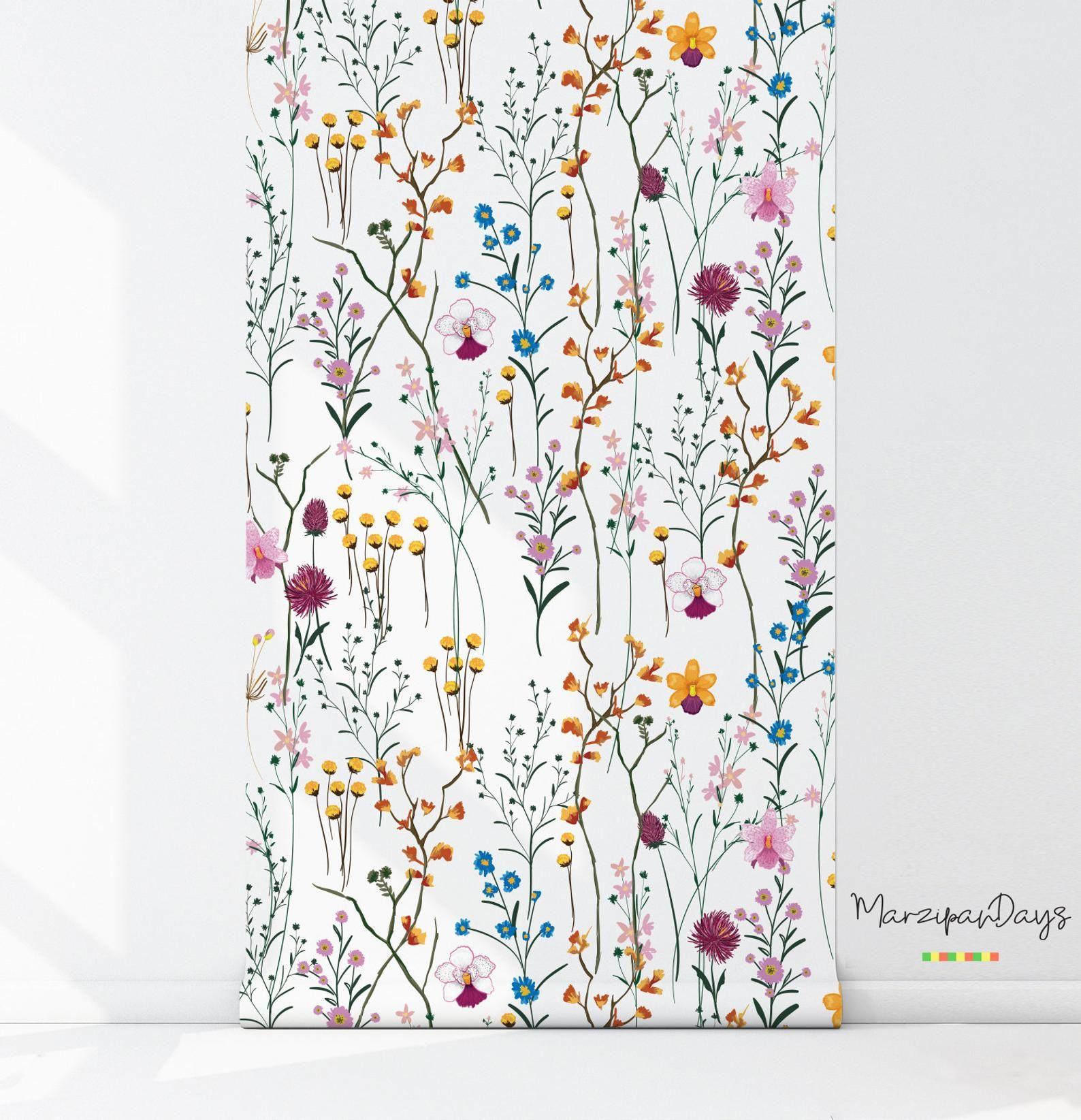 WIld flowers removable wallpaper Garden flowers wall