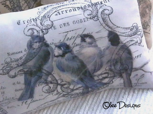Blue Bird PILLOW with Vintage French Label and Postage Stamp with Linen Envelope Closure Back. $35.00, via Etsy.