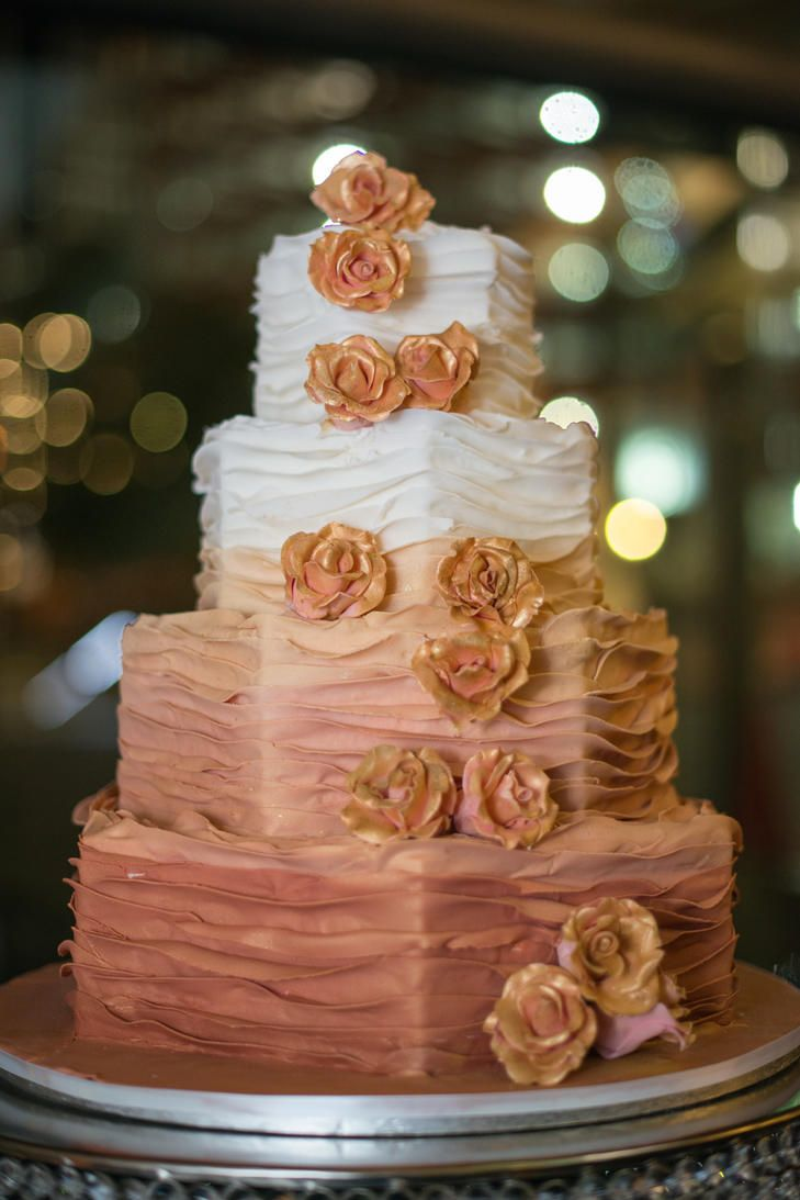 Rose Gold Ombre Wedding Cake With Flowers Photo Jessica