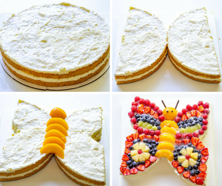 Colorful butterfly cake decorated with lots of fruit - perfect for kids