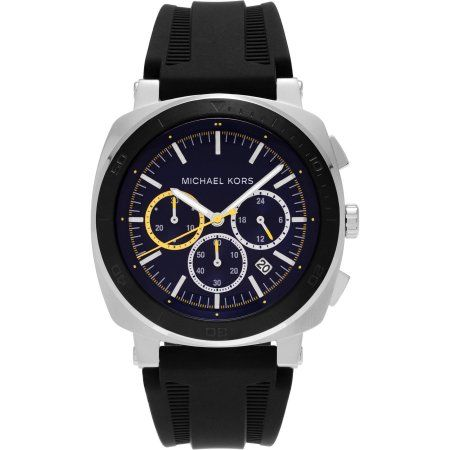 Michael Kors Men s Stainless Steel MK8553 Bax Chronograph Dial Silicone  Strap Dress Watch, Black 49990894053