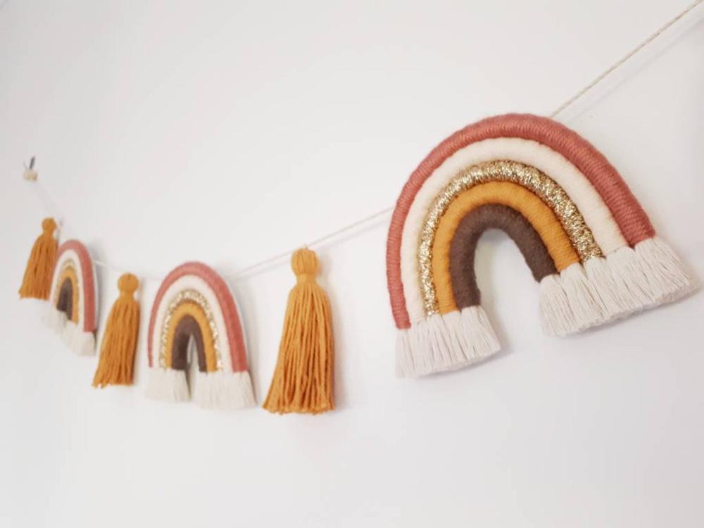 Macrame rainbow copper peach mustard gold brown earthy tones - bunting garland wall hanging tassels - fibre fiber wall art - baby nursery