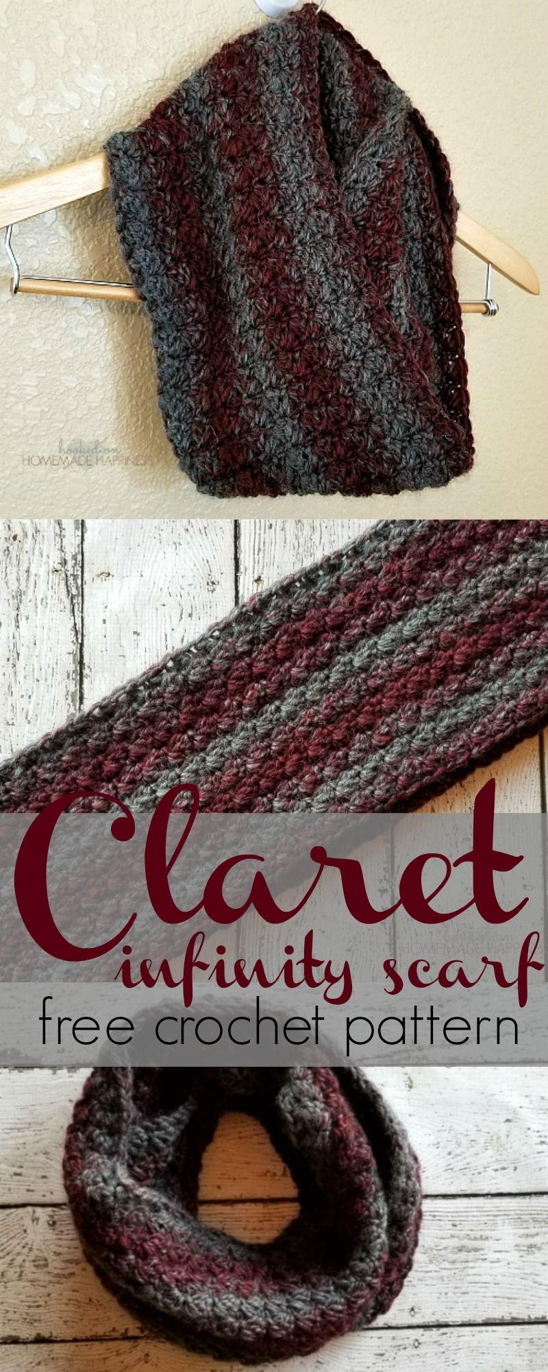 Claret Infinity Crochet Scarf Pattern | Pinterest | Basic crochet ...
