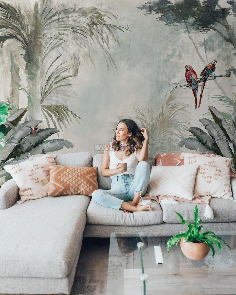 Tree Design Wallpaper Living Room: Tropical Trees Wallpaper Mural в 2020 г