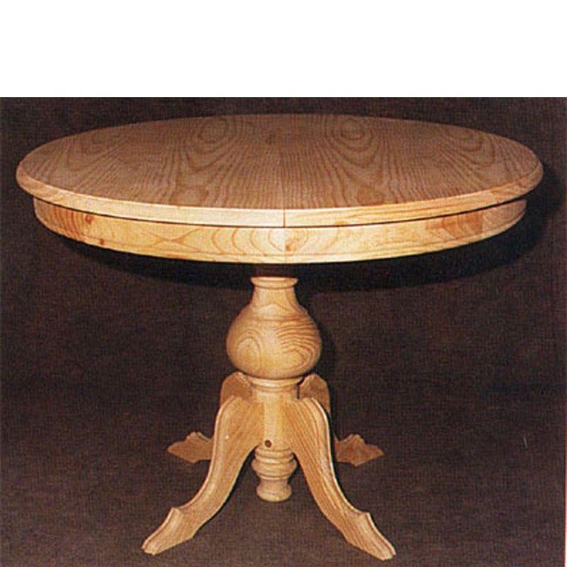 Mesa de comedor redonda extensible madera pino mara for Mesa comedor redonda extensible madera