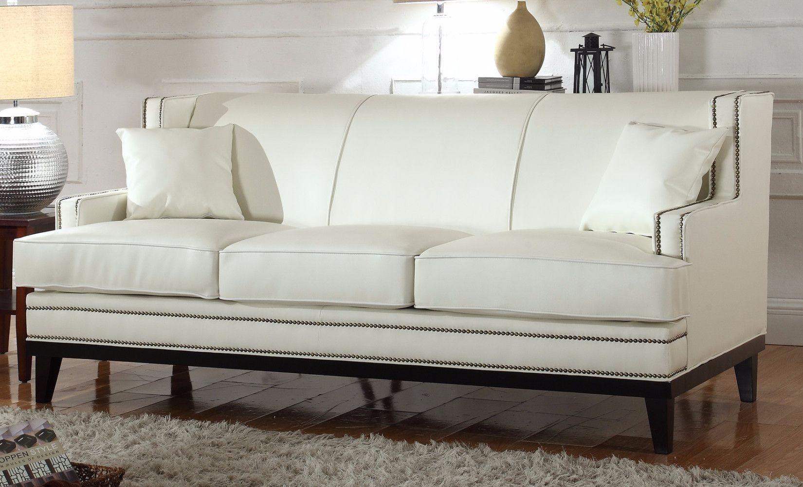 Modern Soft Bonded Leather Sofa With Nailhead Trim Details White Leather Sofa Sale Genuine Leather Furniture Leather Sofa