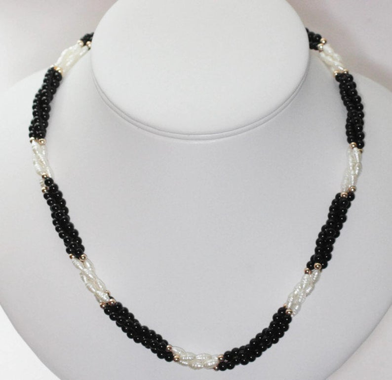 Vintage Black and White  beaded string necklace