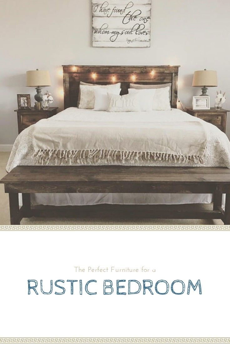 Love The Rustic Bench At The Foot Of The Bed Rustic Farmhouse Chic Bedroom Home Aff Rustic Bedroom Benches Simple Bedroom Bedroom Diy