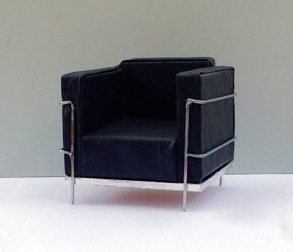 1:6 scale Black Modern Leather Chair diorama by MiniPlacesStudio