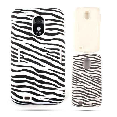 Unlimited Cellular Hybrid Fit On Jelly Case for Samsung Galaxy S2 Epic 4G D710 (Leather Finish Zebra Print)