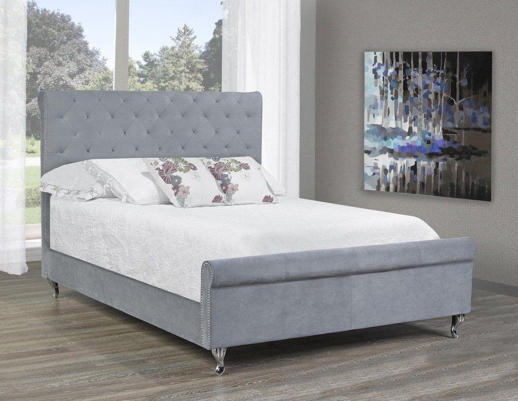 Manila Platform Queen Bed Frame   Grey Velvet. . . #furniture #homedecor #