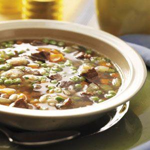 Super tasty beef barley soup