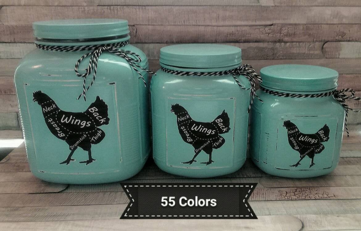 Rustic Mint Green Kitchen Canister Set
