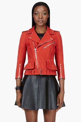 Alexander McQueen Vermillion Red Leather & Silk Biker Jacket