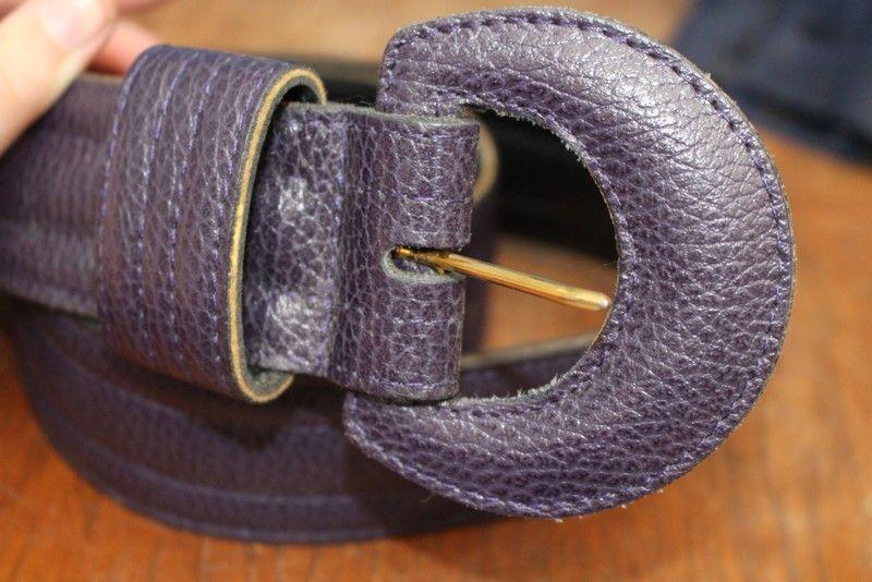 ceinture taille cuir violet T32/60 vintage retro hippie chic année 60-70