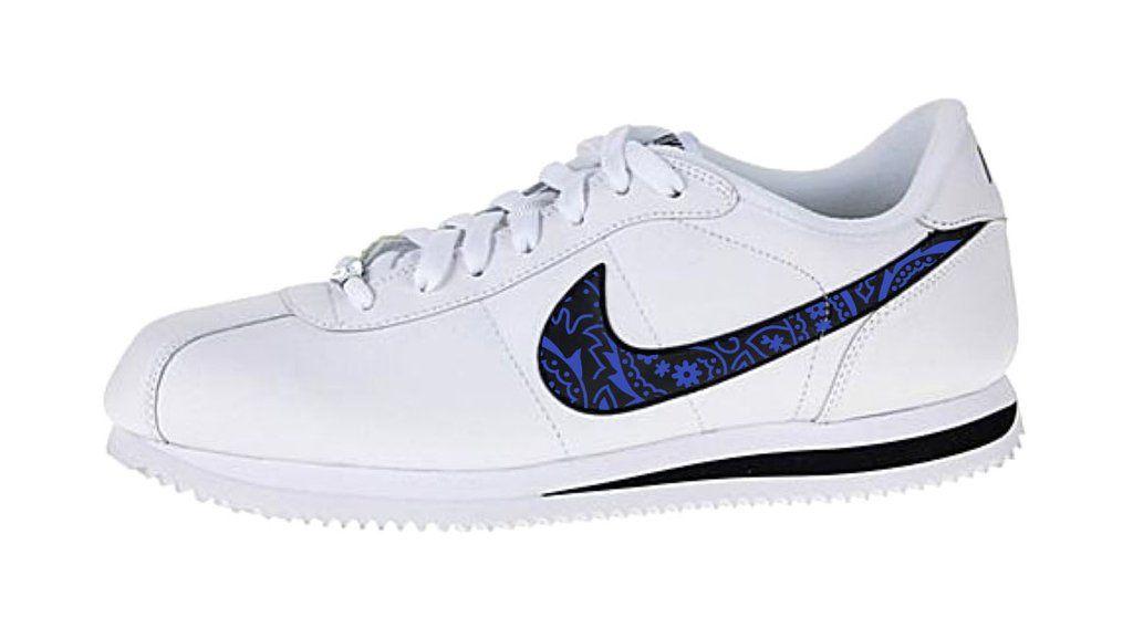 buy popular 52c23 1edf9 Bandana Fever Royal Blue Bandana Print Custom White Black Nike Cortez Shoes