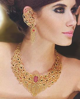 Indian Pakistani Silver Gold Plated Jewelry with Emerald Fuchsia