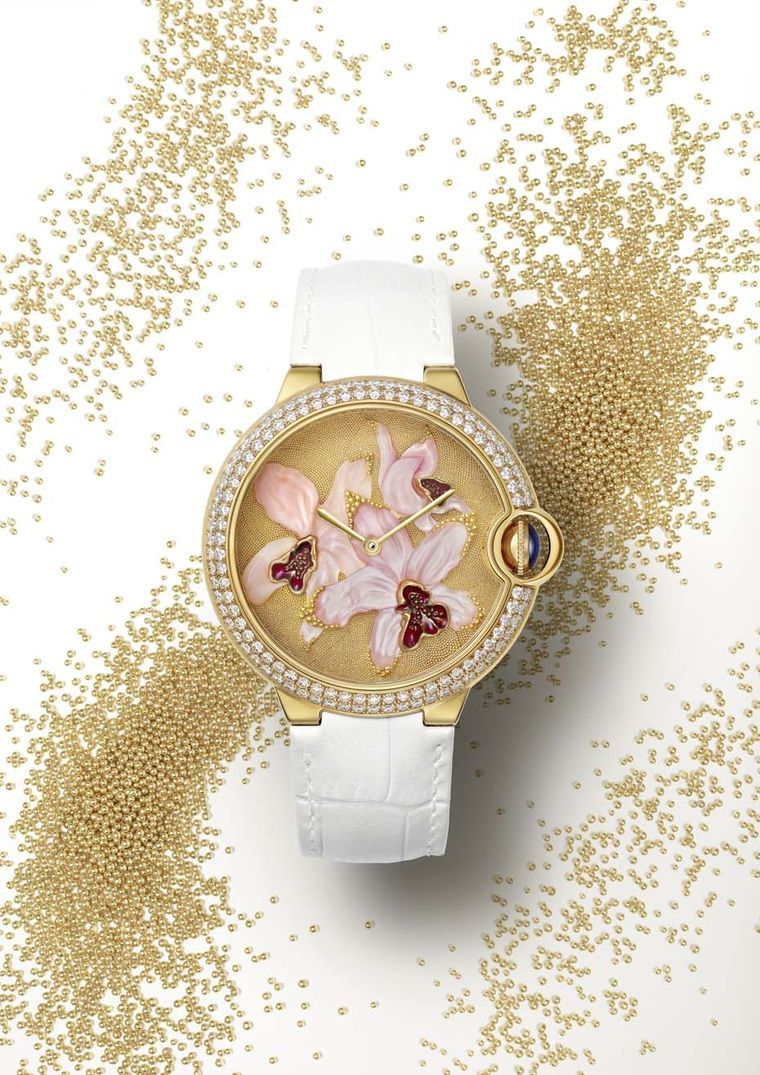 Cartier Ballon Blue Orchid ladies' watch uses the ancient art of granulation as the backdrop to the magnificent mother-of-pearl orchid featured in the centre of the dial.