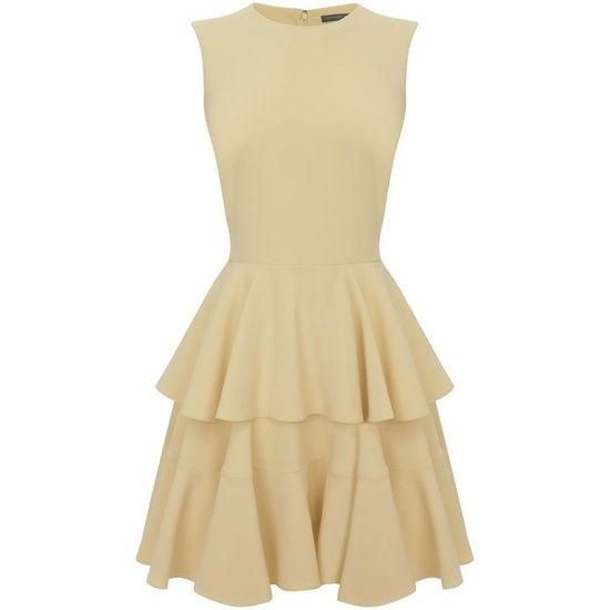 Alexander McQueen Buttercup Crepe Tiered Dress found on Polyvore