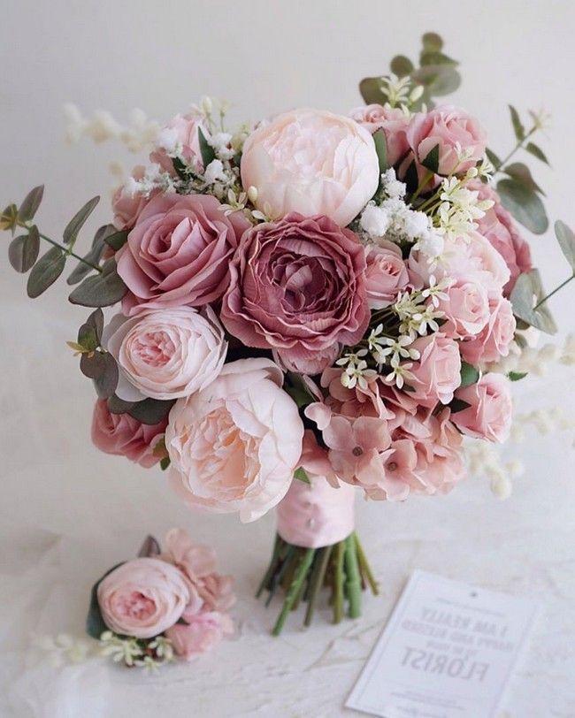 Dusty Rose Wedding Bouquet Ideas Wedding Weddingbouquets Weddingideas Flower Bouquet D In 2020 Summer Wedding Bouquets Dusty Rose Wedding Silk Wedding Bouquets