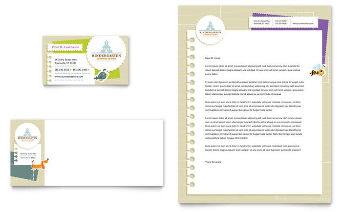Kindergarten Business Card and Letterhead Template Design by - letterhead format word