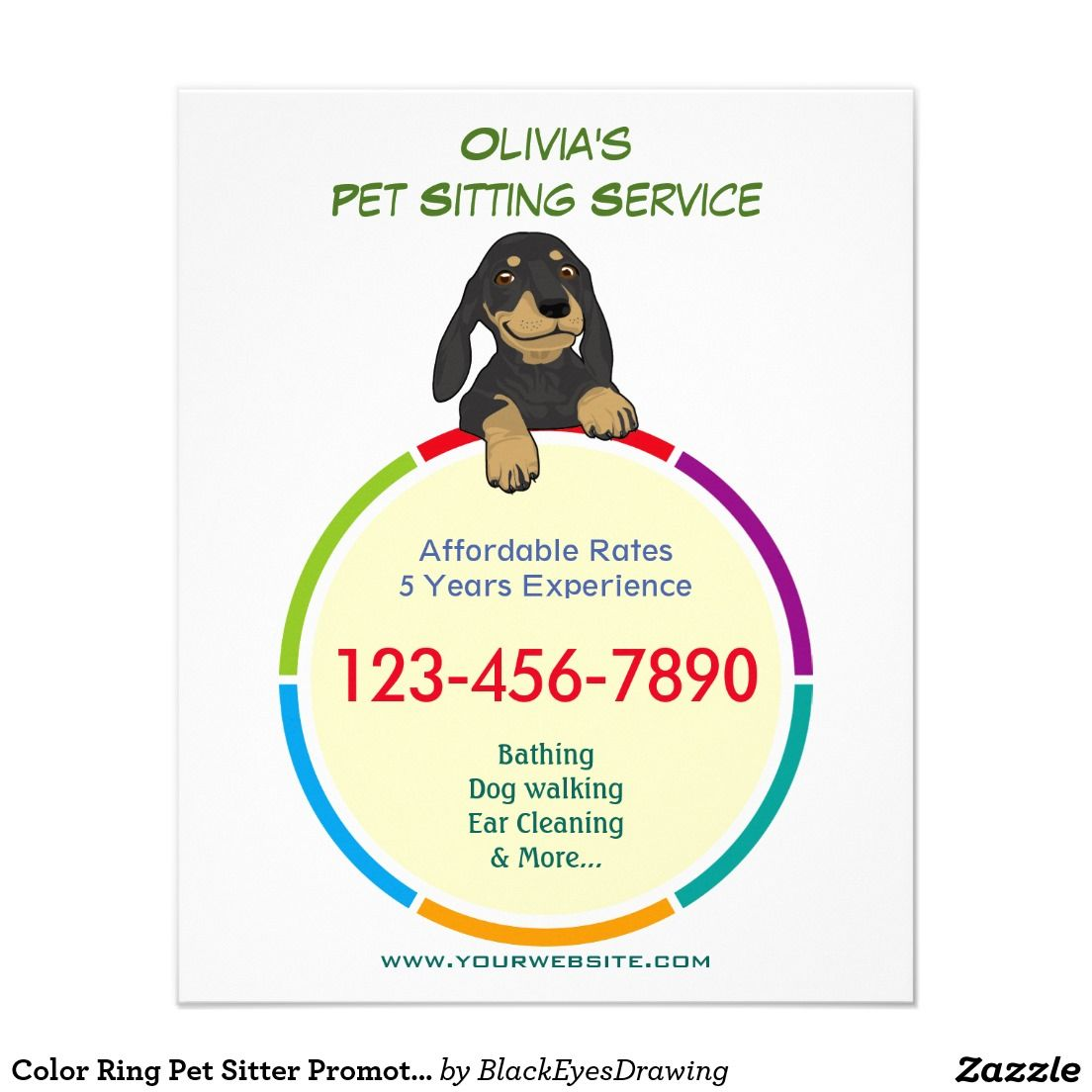 color ring pet sitter promotional flyer pet sitter grooming