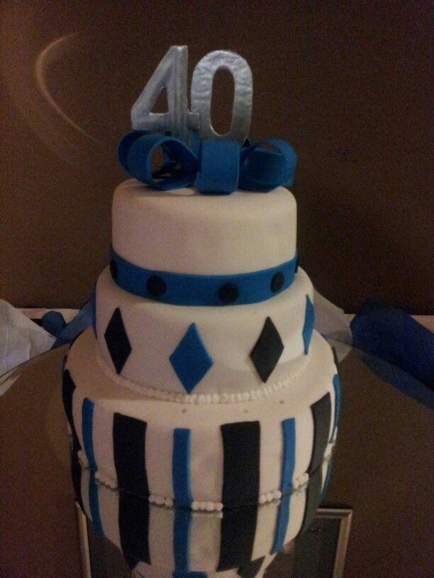 Peachy Mens 40Th Birthday 3 Tier Fondant Cake Blue Black Silver And Personalised Birthday Cards Fashionlily Jamesorg