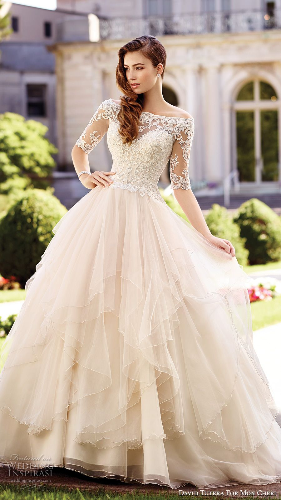 New david tutera mc spring bridal half sleeves illusion off the shoulder sweetheart neckline heavily embellished bodice princess ball gown wedding dress