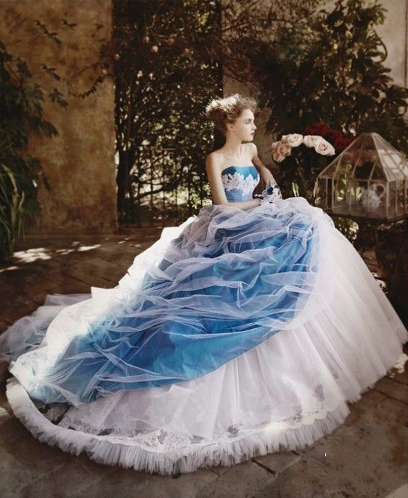 Click to Buy << Vintage Blue And White Ball Gown Wedding Dresses ...