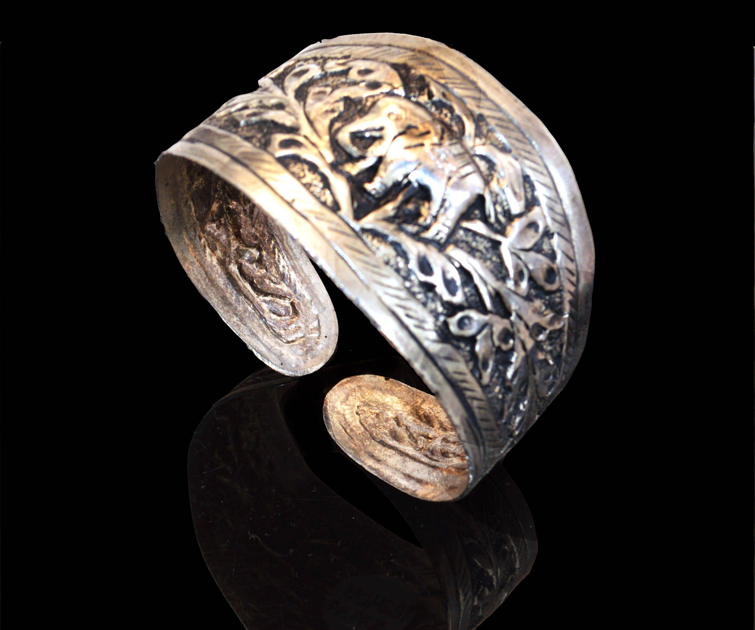 Antique Silver Cuff Bracelet Tribal Cuff Elephant Bracelet