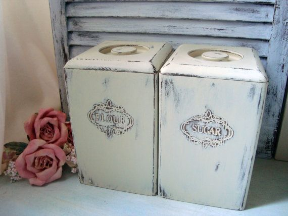 Cream Vintage Wooden Canisters, Flour And Sugar Canister Set, Shabby Pair  Of Distressed Kitchen Canisters, Cottage Chic, French Country