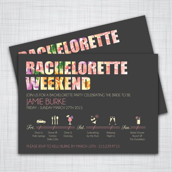 These elegant bachelorette invitations are perfect for any setting ...