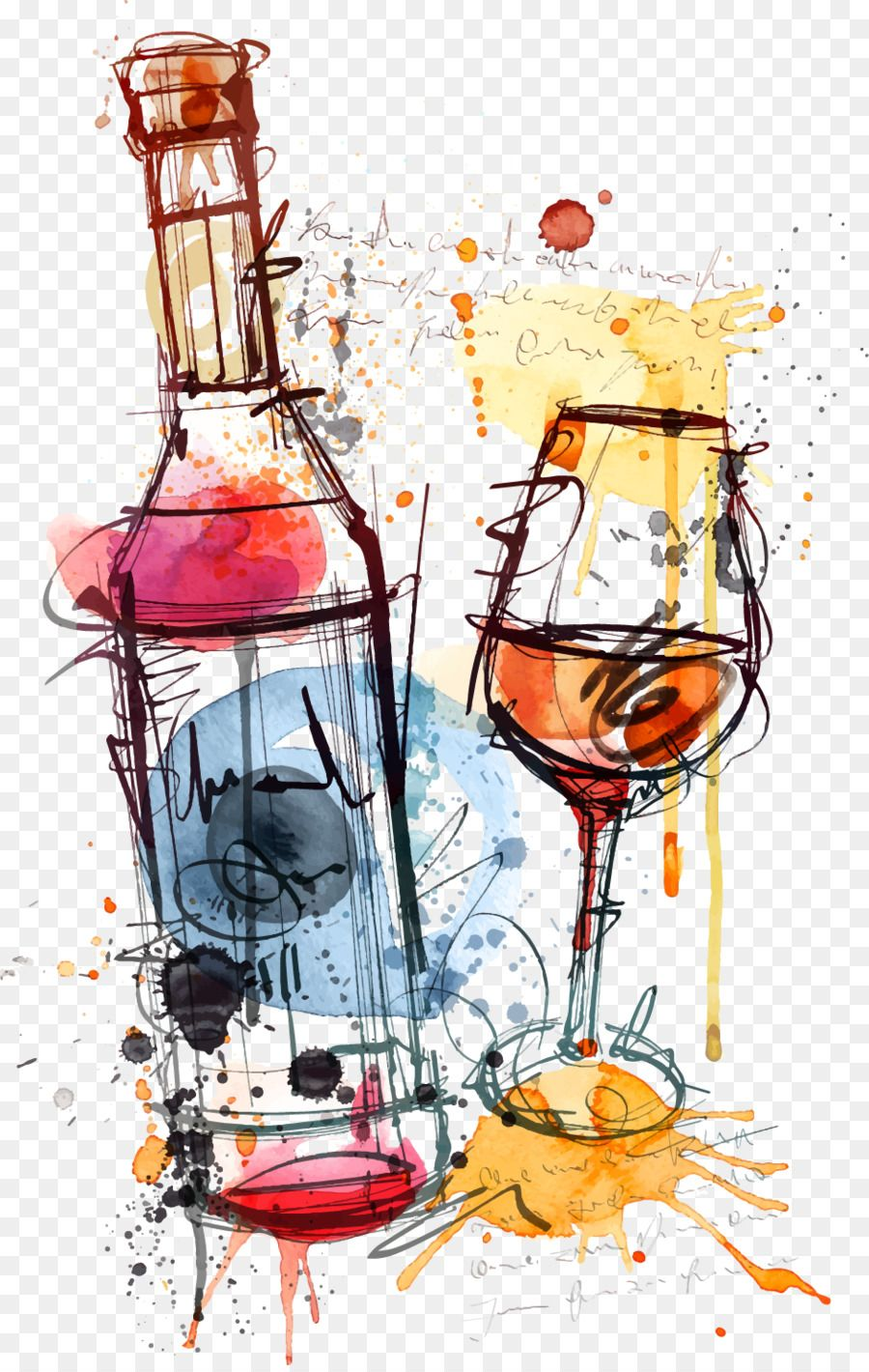 Red Wine Bottle Rosé Clip art Watercolor wine glass and