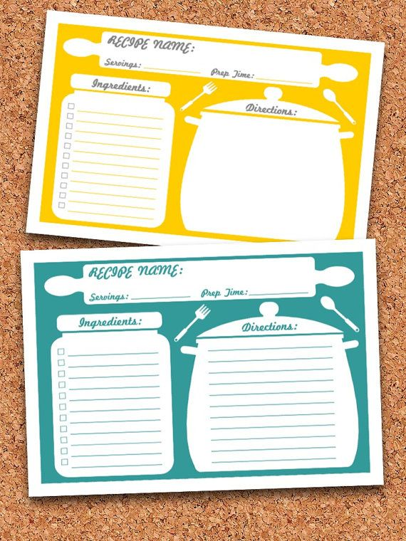 Recipe Cards Printable Fillable Instant Download