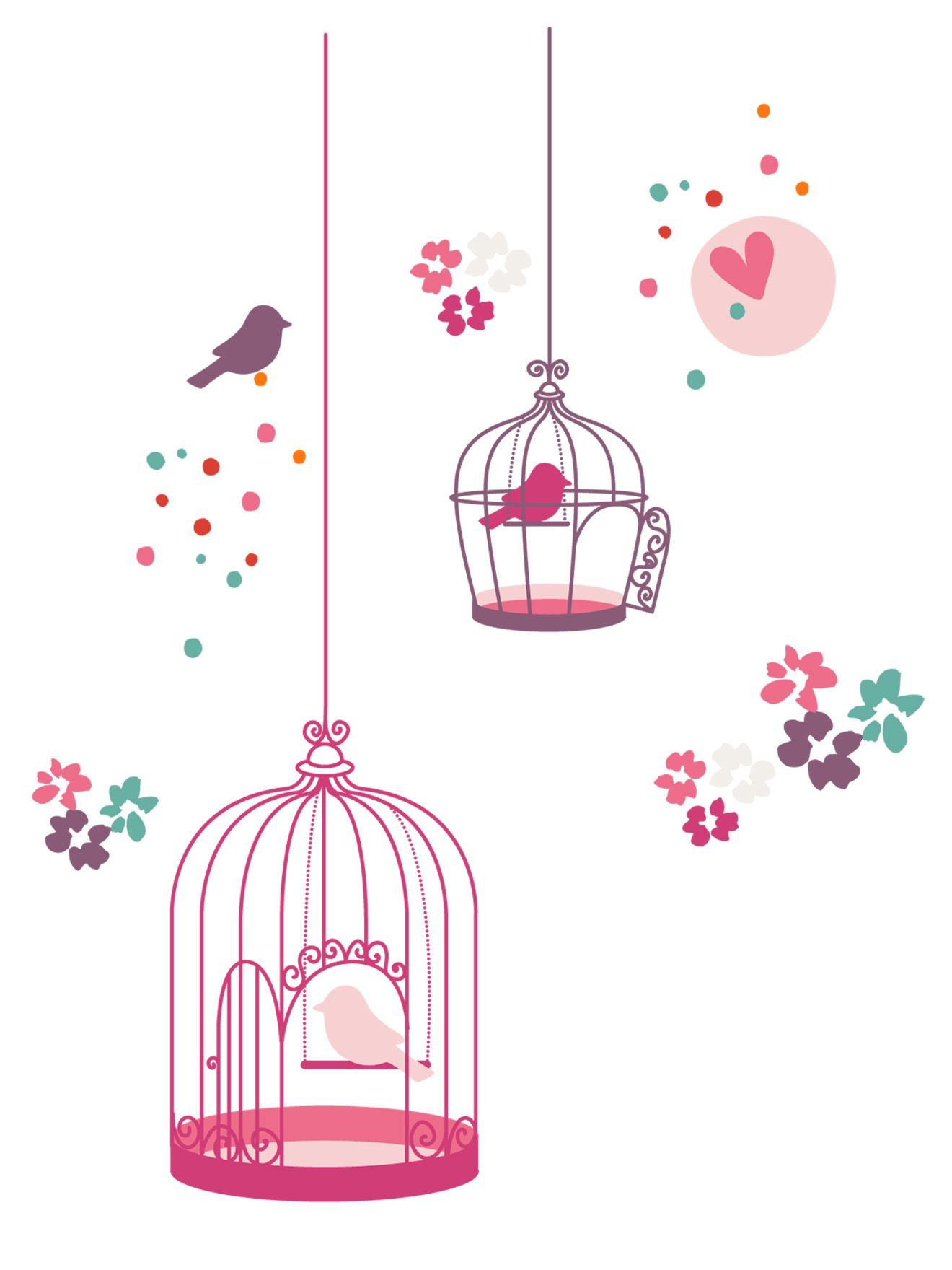 Stickers fille th me paradise bird chambre b b d co - Stickers pour chambre fille ...