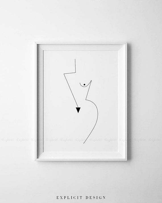 Photo of Abstract Geometric Feminine Figure Printable, Minimalist Nude Woman Body Form Art, Naked Geometrical Prints, Boob Poster, Fine Digital Print
