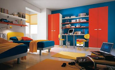 Bedroom Colors Blue And Red split-complementary: the yellow-orange, red-orange, and blue are a