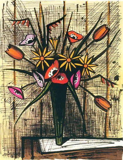 Anemones et tulipes by bernard buffet fleurs de b b for Buffet peintre