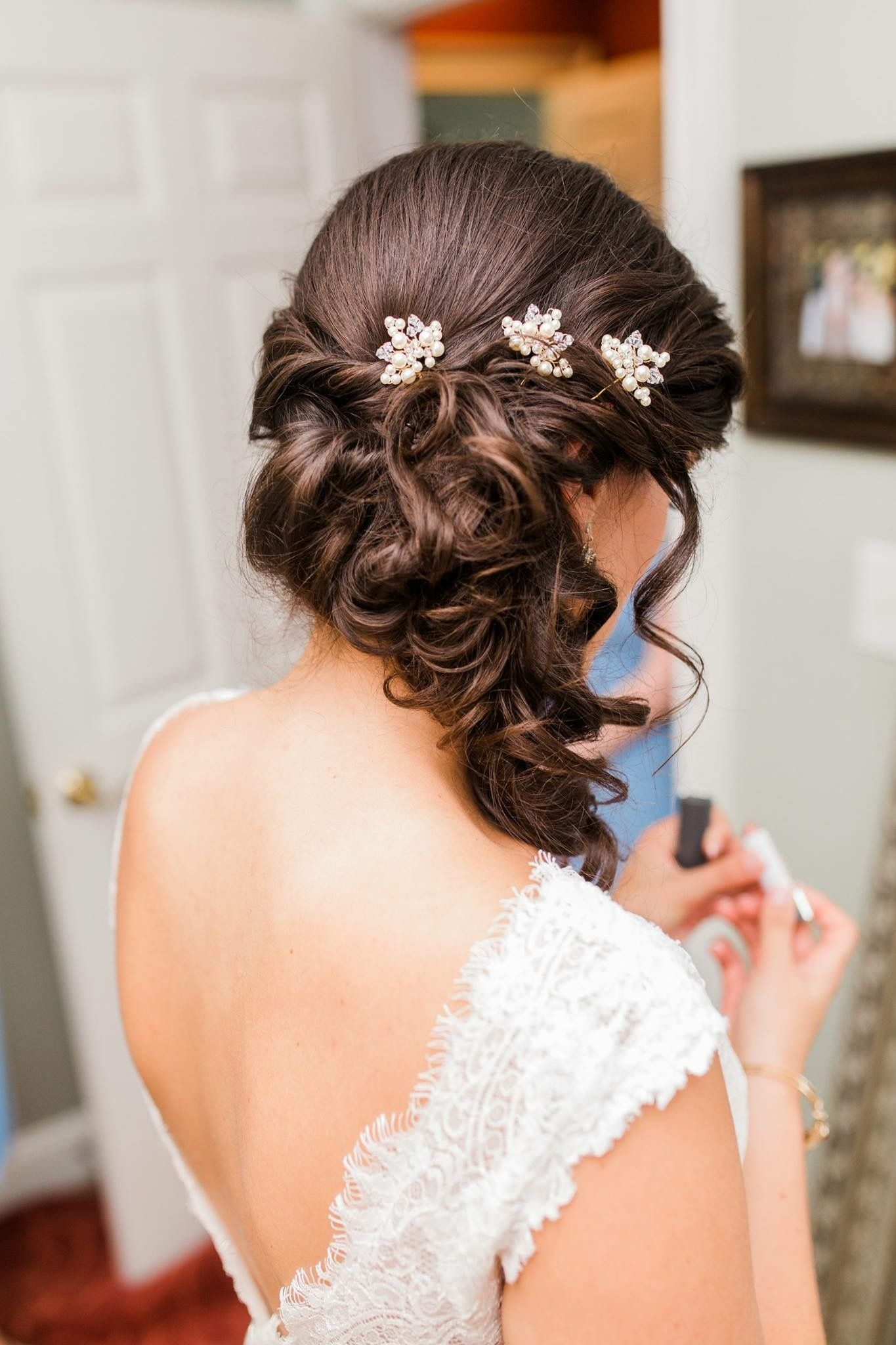 bridal hair side-swept partial up-do with pins in 2019