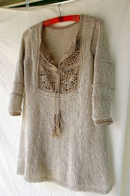 Knit tunic with square lace neckline with ties - very boho, ethnic steampunk.