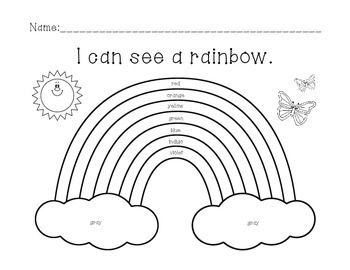 How many colors in a rainbow worksheets rainbows and for Rainbow coloring page for preschool