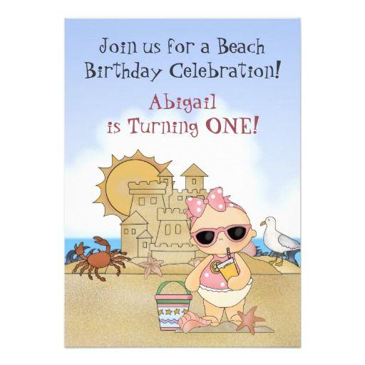 Cool Beach Baby 1st Birthday Invitation for Girls